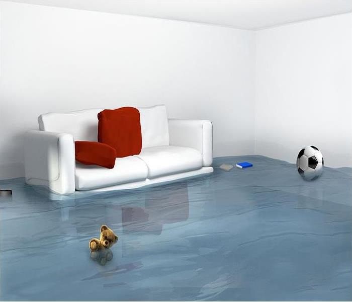 living room with a pool of water on the floor and a white sofa