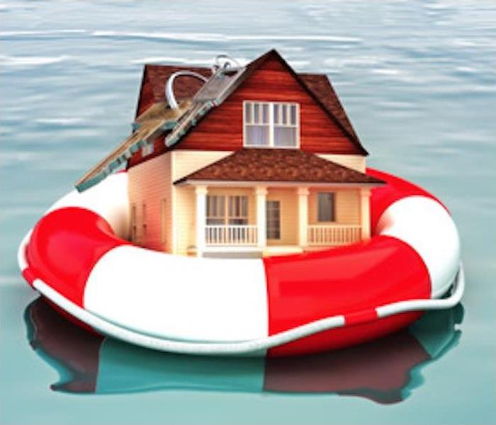 house nestled inside a life preserver floating on water